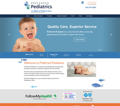 Doctor web design for Preferred Pediatrics