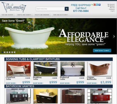 ECommerce web design for The Tub Connection