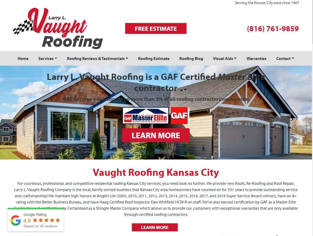 Vaught Roofing KC web design project