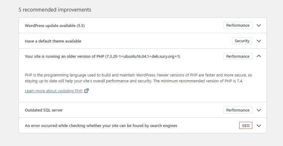 WordPress Site Health minimum recommended version of PHP is 7.4