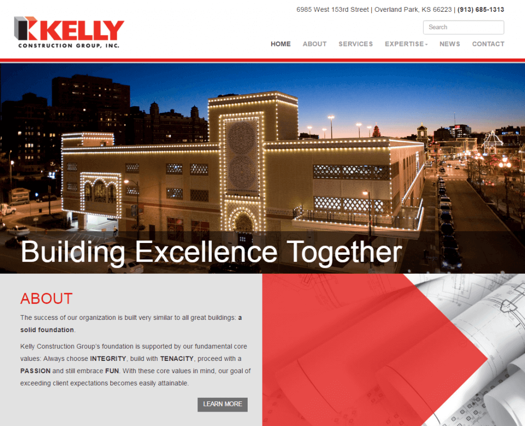 KC Web Design project for Kelly Construction