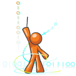Web Development Programming Orange Guy Mascot